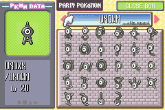 Pokemon Ruby Destiny Reign of Legends (Extended Version Beta 1) - All Unowns! - User Screenshot